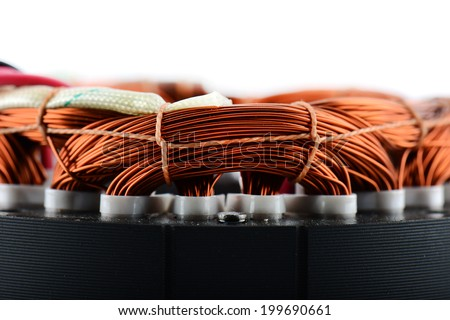 Electric motor rotor close-up, selective focus - stock photo