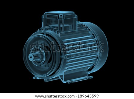 Electric motor with internals x-ray blue transparent isolated on black