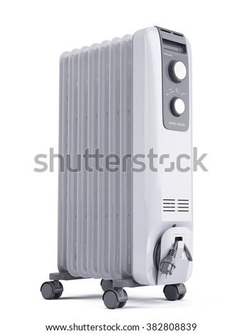Electric oil heater isolated on white