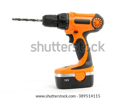 electric orange drill hammer isolated on white  - stock photo
