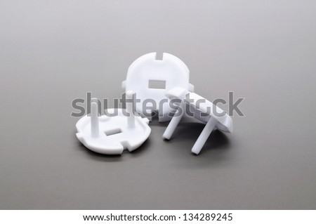 Electric outlet, a child safeguard - stock photo