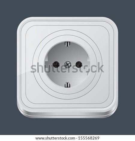 Electric outlet icon. Raster version of vector illustration.