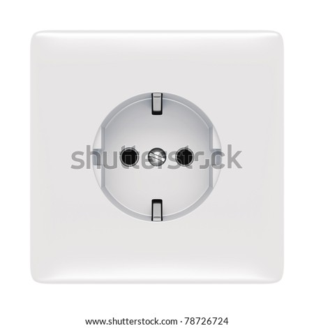 electric outlet isolated on white - stock photo