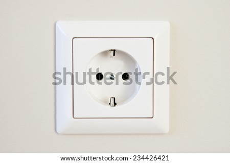 Electric outlet isolated on white background - stock photo