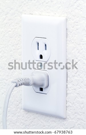 electric outlet with cord - stock photo