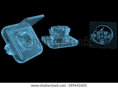 Electric outlet x-ray blue transparent isolated on black - stock photo