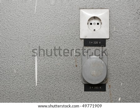 Electric outlets in an industrial place - stock photo