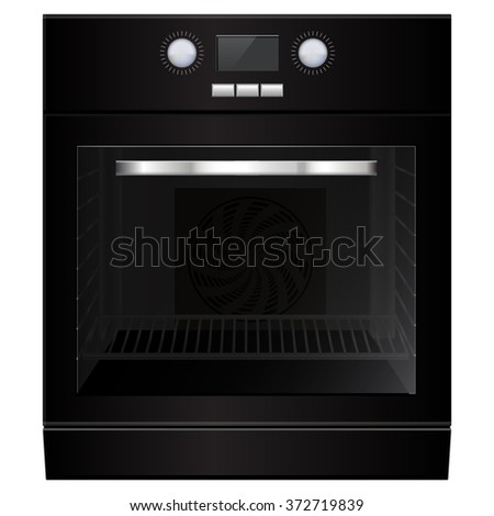 Electric oven. Black home appliance.  Illustration isolated on white background. Raster version. - stock photo