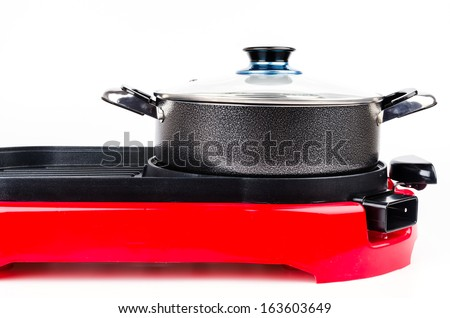 Electric pan on isolated white background - stock photo