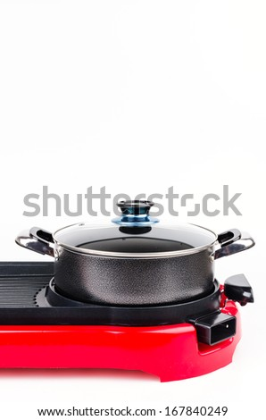 Electric pan on isolated white background