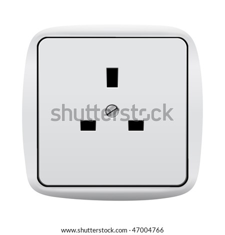 Electric 3-pin wall outlet with clipping path isolated on white background - stock photo
