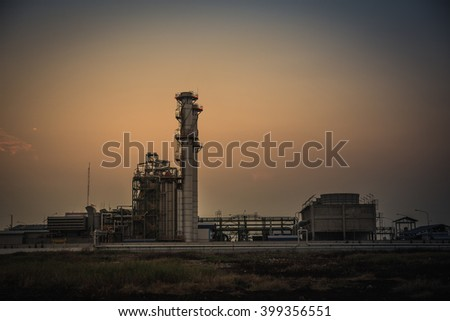 Electric  plant and sunset sky - stock photo