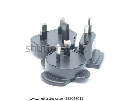 Electric plug adapter, isometric 2 and 3 pin plug isolated on white background - stock photo