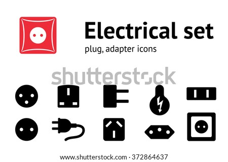 Electric Plug Adapter Socket Base Icon Stock Illustration 372864637