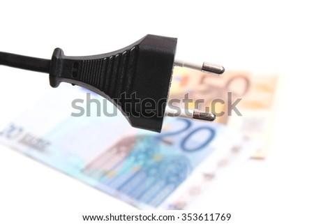 Electric plug and money - savings concept - stock photo