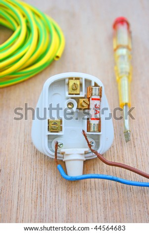 electric plug and screwdriver.