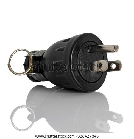 Electric plug isolated on white - stock photo