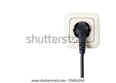 electric plug on white background - stock photo