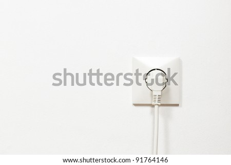 electric plug on white wall See my portfolio for more - stock photo