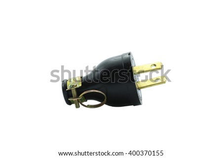 electric plugs on white background - stock photo