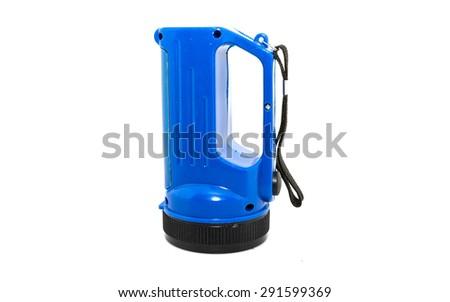 Electric Pocket Flashlight isolated on white;  - stock photo