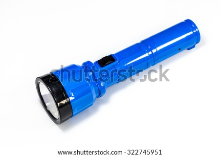 Electric Pocket Flashlight isolated on white - stock photo