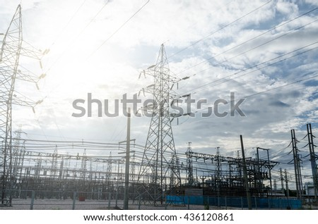 electric pole at sunrise