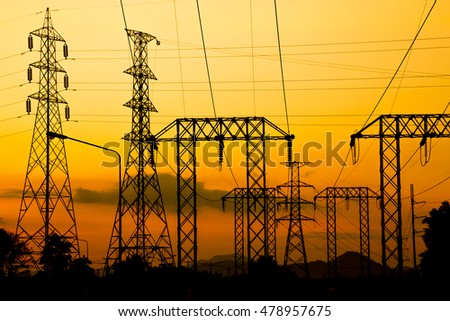Electric pole, High voltage post and sky in twilight time