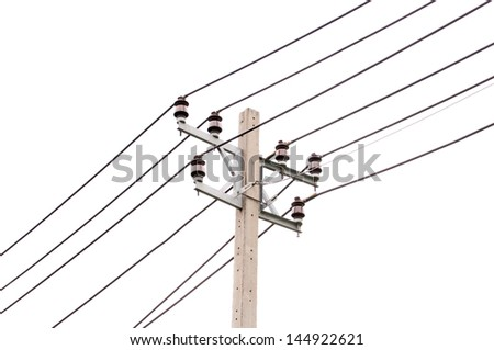 Electric pole on white background, Thailand
