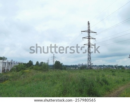 Electric pole. Power line support.