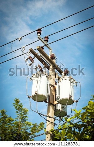 electric pole with wires - stock photo