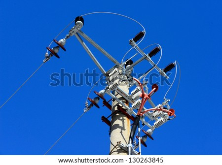 Electric Poles on the blue sky / Telephone Pole / Power Lines - stock photo