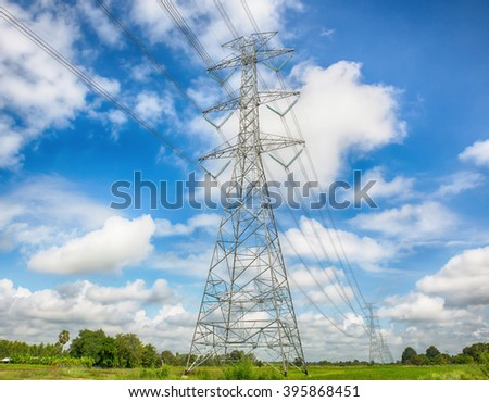 Electric post in the blue sky,Thailand - stock photo