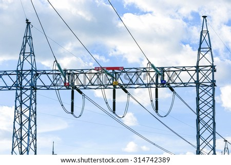 Electric post power-plant transformer station . - stock photo