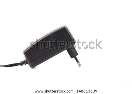Electric power adapter. Close up. - stock photo