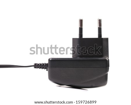 Electric power adapter. Close up. Isolated. On a white background - stock photo