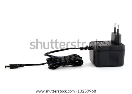 Electric power adapter isolated on white background - stock photo