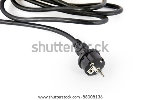 electric power cable with plug in front of white Background