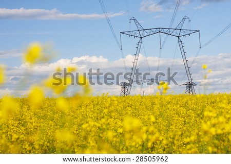 electric power lines - stock photo