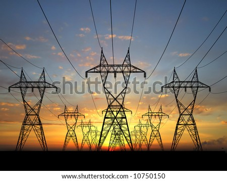 Electric power lines over sunrise - stock photo