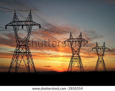 Electric power-lines over sunrise - stock photo