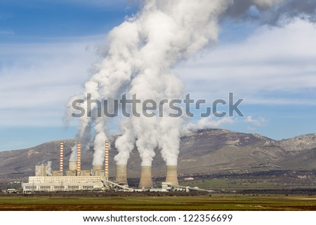 Electric power plant in Kozani Greece - stock photo