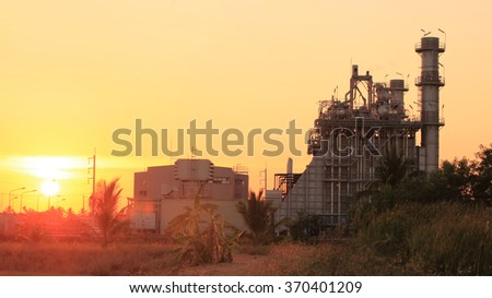 Electric Power plant on sunset sky