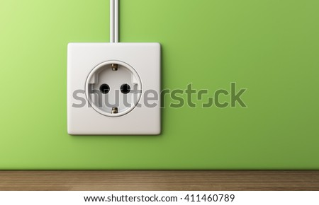 electric power socket outlet, 3D Illustration - stock photo