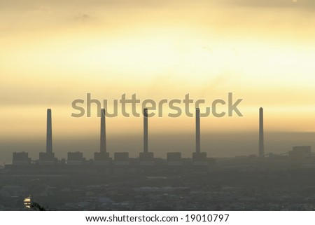 Electric power station and sunset