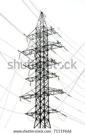 Electric power station isolated on white background - stock photo
