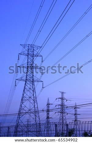 Electric power station on blue sky.