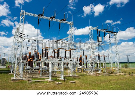 Electric power station on the blue background - stock photo