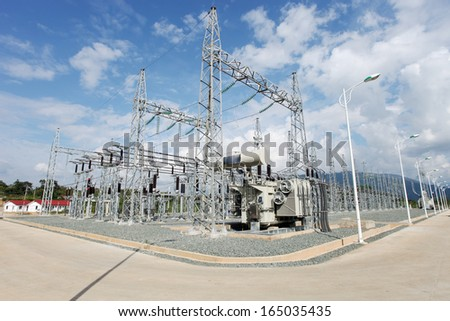 Electric power substation. - stock photo