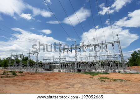 Electric power substation, High voltage switchgear - stock photo